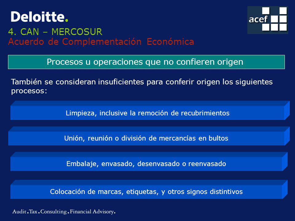4. CAN – MERCOSUR Acuerdo de Complementación Económica Procesos u operaciones que no confieren origen Limpieza, inclusive la remoción de recubrimiento