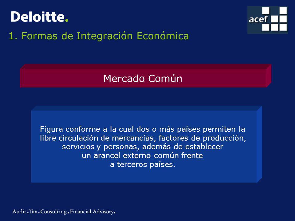 1. Formas de Integración Económica Mercado Común Figura conforme a la cual dos o más países permiten la libre circulación de mercancías, factores de p