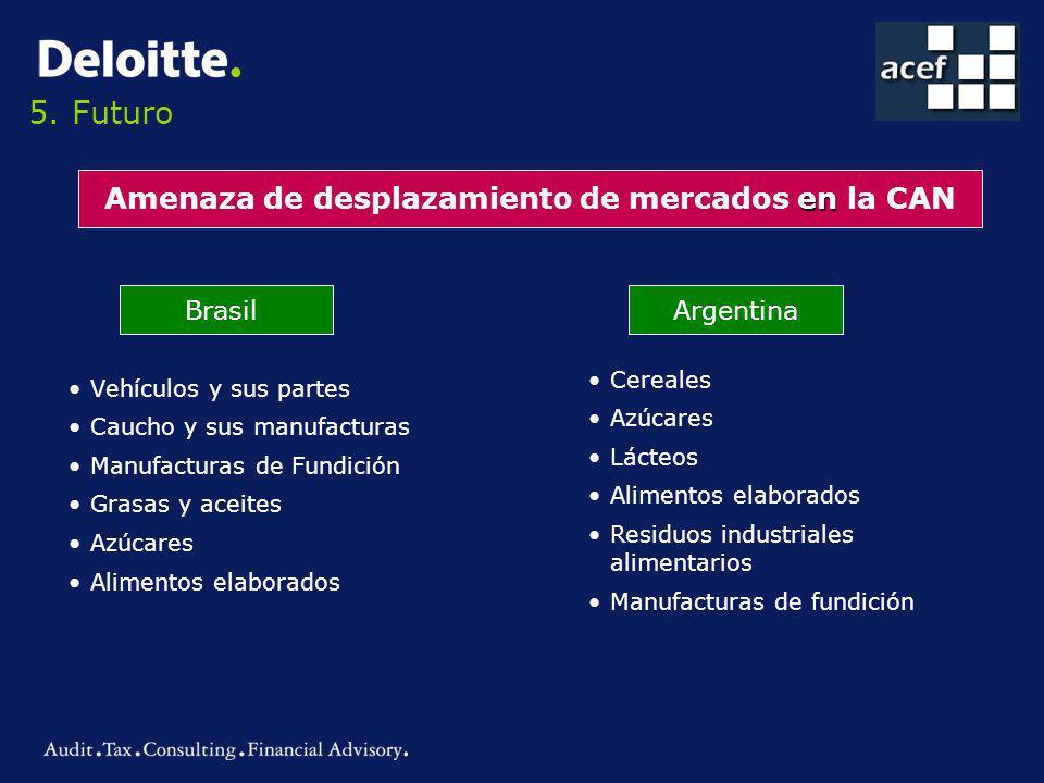 5. Futuro en Amenaza de desplazamiento de mercados en la CAN BrasilArgentina Vehículos y sus partes Caucho y sus manufacturas Manufacturas de Fundició