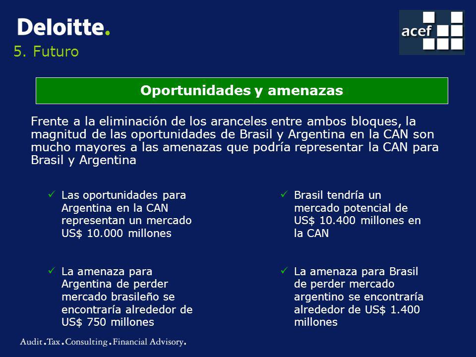 5. Futuro Oportunidades y amenazas Frente a la eliminación de los aranceles entre ambos bloques, la magnitud de las oportunidades de Brasil y Argentin