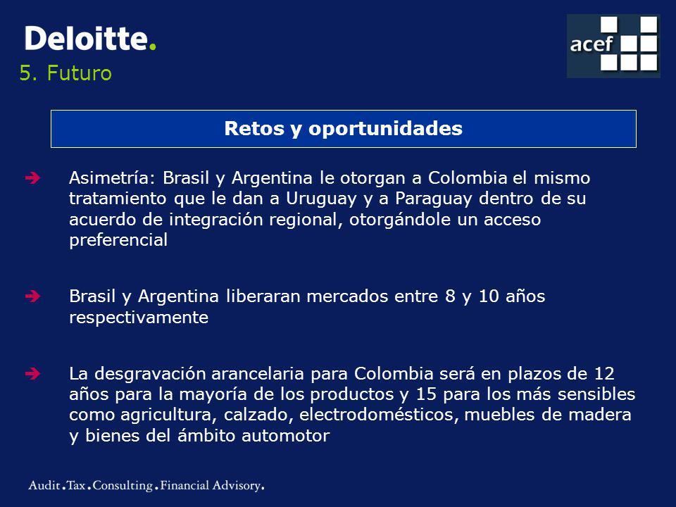 5. Futuro Retos y oportunidades Asimetría: Brasil y Argentina le otorgan a Colombia el mismo tratamiento que le dan a Uruguay y a Paraguay dentro de s