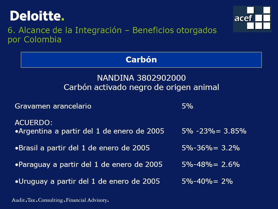 6. Alcance de la Integración – Beneficios otorgados por Colombia Carbón NANDINA 3802902000 Carbón activado negro de origen animal Gravamen arancelario