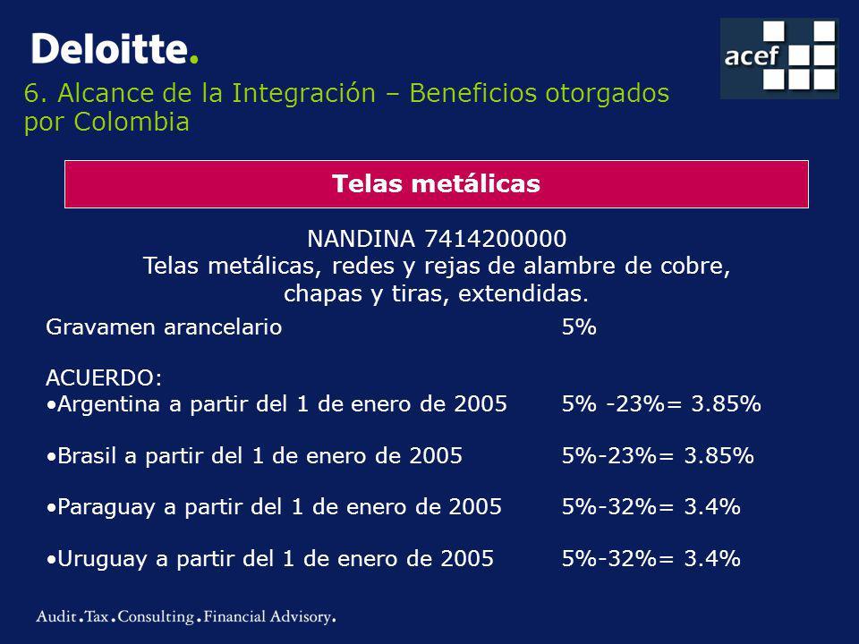 6. Alcance de la Integración – Beneficios otorgados por Colombia Telas metálicas NANDINA 7414200000 Telas metálicas, redes y rejas de alambre de cobre