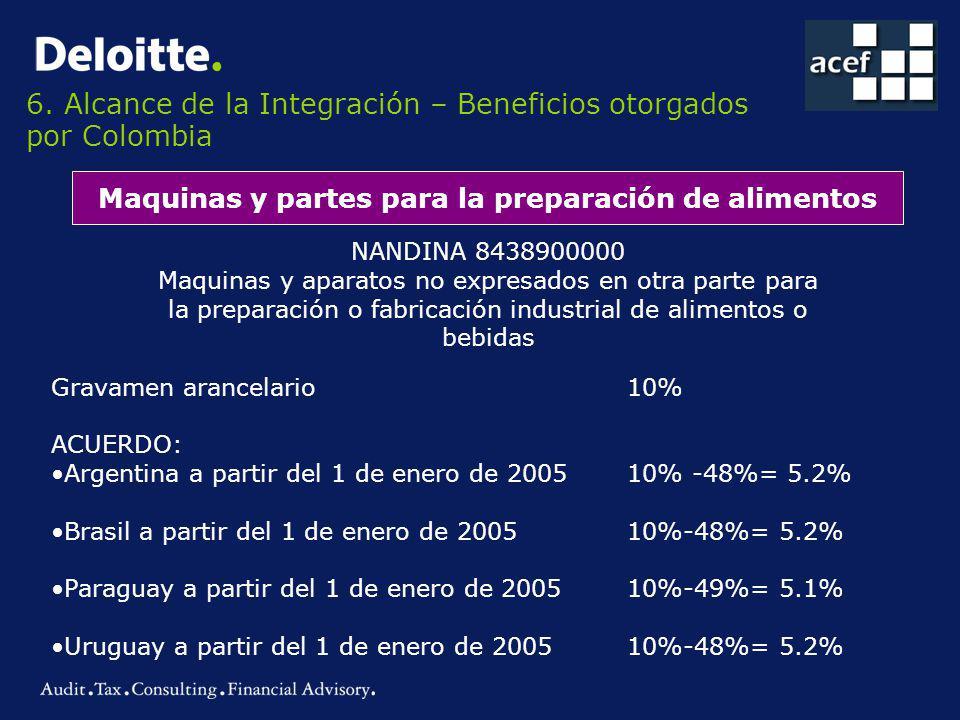 6. Alcance de la Integración – Beneficios otorgados por Colombia Maquinas y partes para la preparación de alimentos NANDINA 8438900000 Maquinas y apar