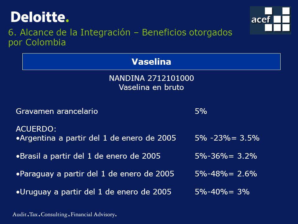 6. Alcance de la Integración – Beneficios otorgados por Colombia Vaselina NANDINA 2712101000 Vaselina en bruto Gravamen arancelario 5% ACUERDO: Argent