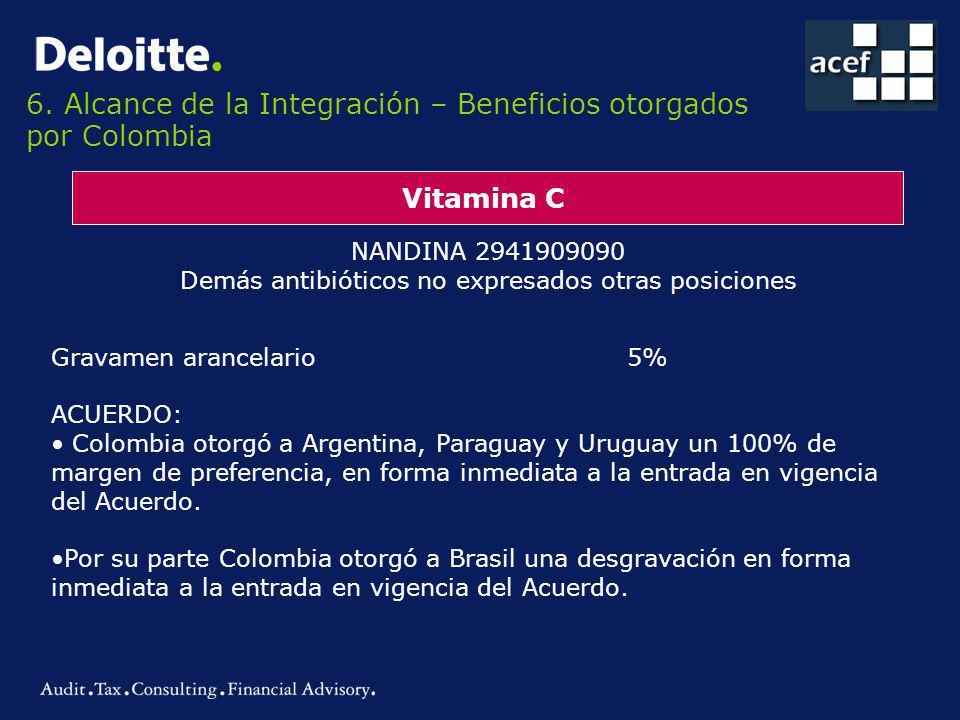 6. Alcance de la Integración – Beneficios otorgados por Colombia Vitamina C NANDINA 2941909090 Demás antibióticos no expresados otras posiciones Grava