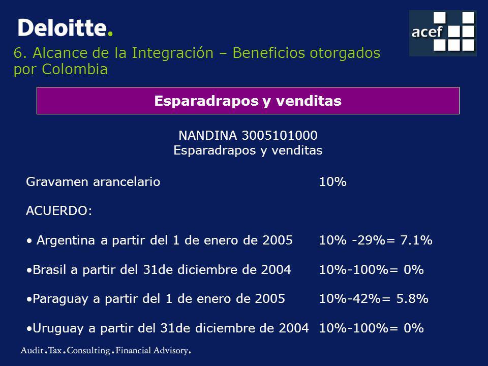 6. Alcance de la Integración – Beneficios otorgados por Colombia Esparadrapos y venditas NANDINA 3005101000 Esparadrapos y venditas Gravamen arancelar