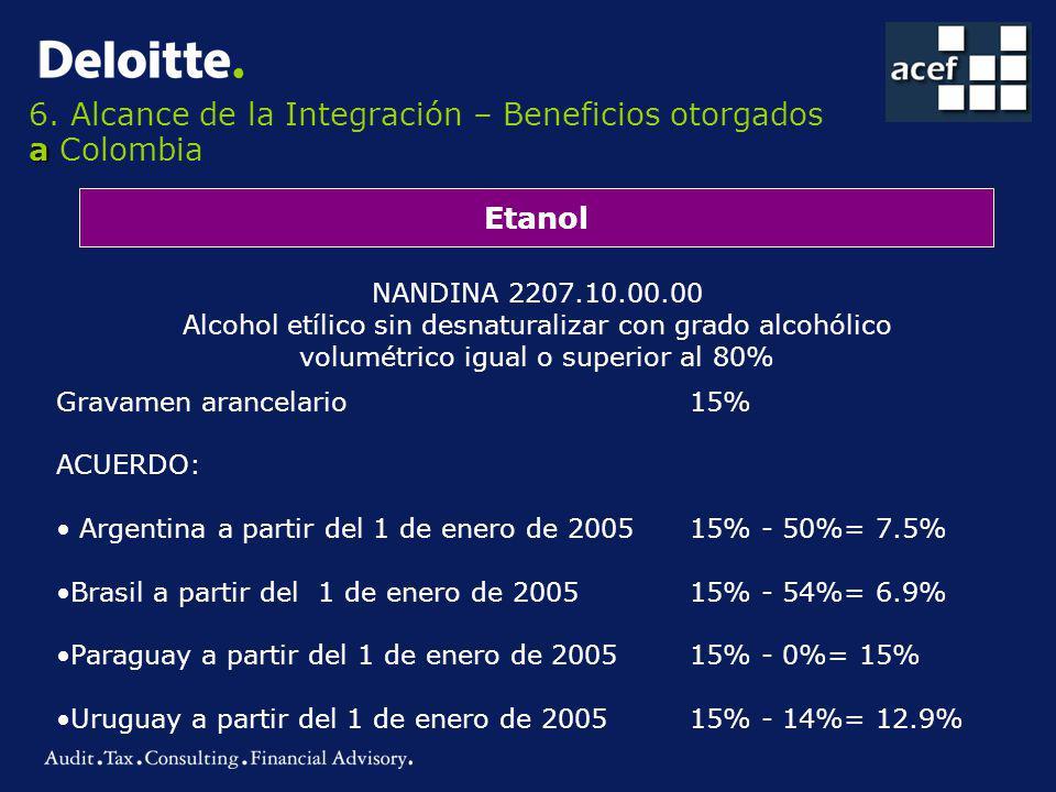 a 6. Alcance de la Integración – Beneficios otorgados a Colombia Etanol NANDINA 2207.10.00.00 Alcohol etílico sin desnaturalizar con grado alcohólico