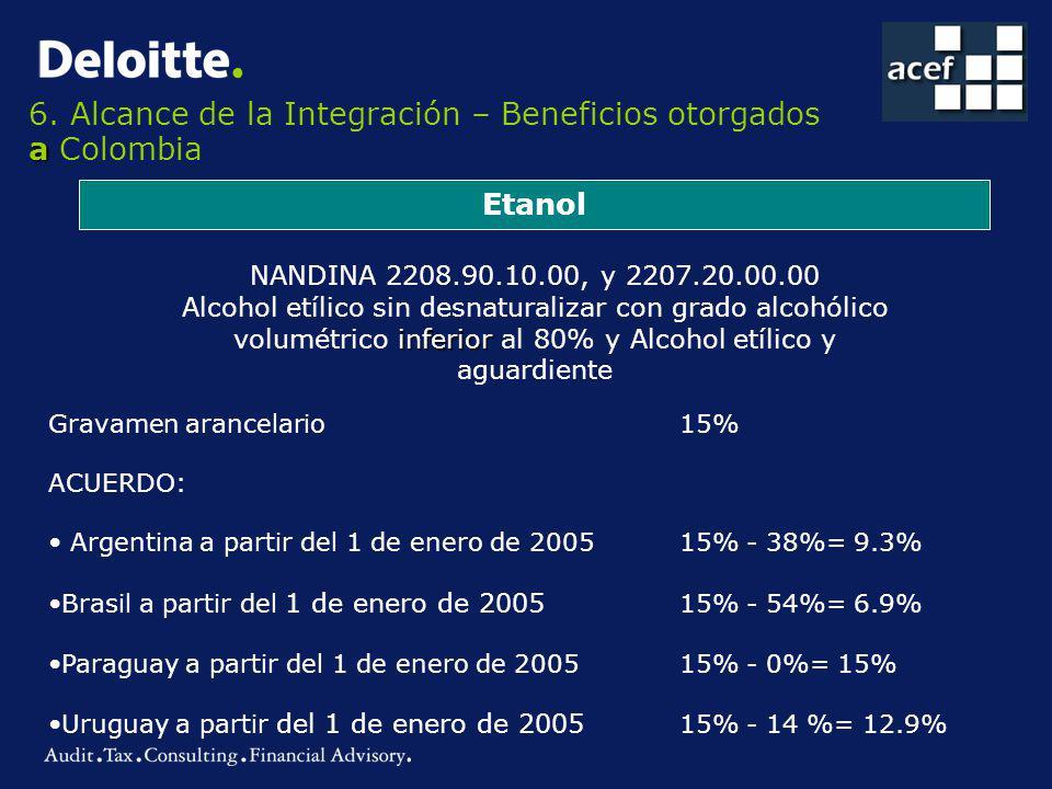 a 6. Alcance de la Integración – Beneficios otorgados a Colombia Etanol NANDINA 2208.90.10.00, y 2207.20.00.00 inferior Alcohol etílico sin desnatural