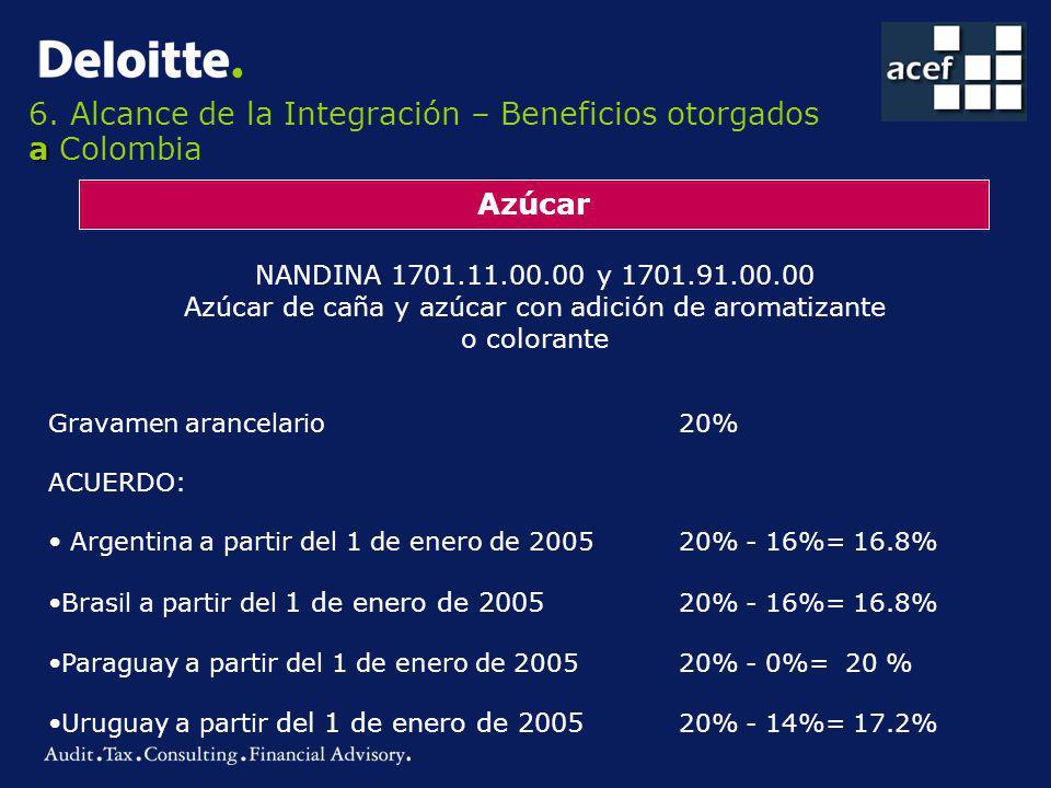 a 6. Alcance de la Integración – Beneficios otorgados a Colombia Azúcar NANDINA 1701.11.00.00 y 1701.91.00.00 Azúcar de caña y azúcar con adición de a