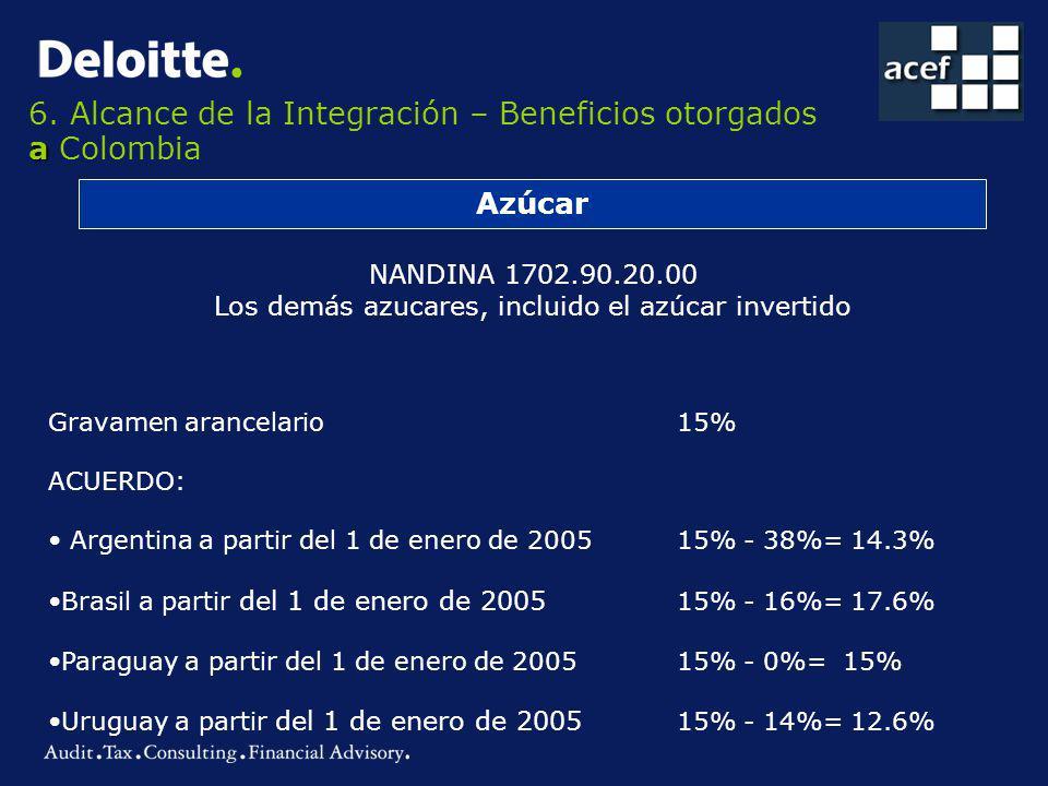 a 6. Alcance de la Integración – Beneficios otorgados a Colombia Azúcar NANDINA 1702.90.20.00 Los demás azucares, incluido el azúcar invertido Gravame
