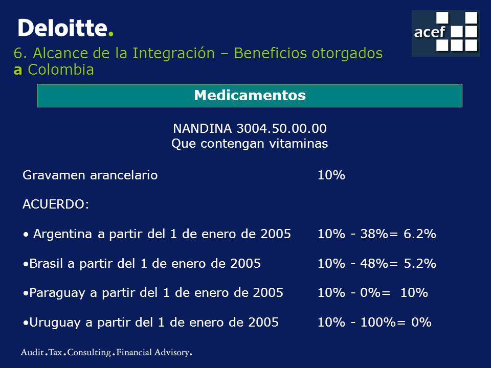 a 6. Alcance de la Integración – Beneficios otorgados a Colombia Medicamentos NANDINA 3004.50.00.00 Que contengan vitaminas Gravamen arancelario 10% A