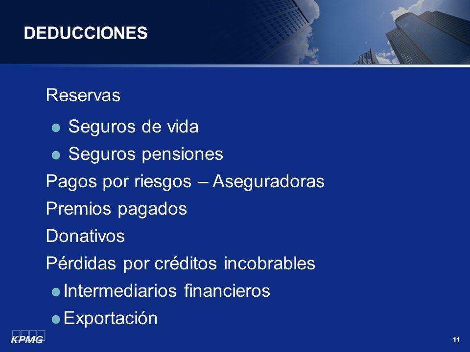11 DEDUCCIONES Reservas Seguros de vida Seguros pensiones Pagos por riesgos – Aseguradoras Premios pagados Donativos Pérdidas por créditos incobrables