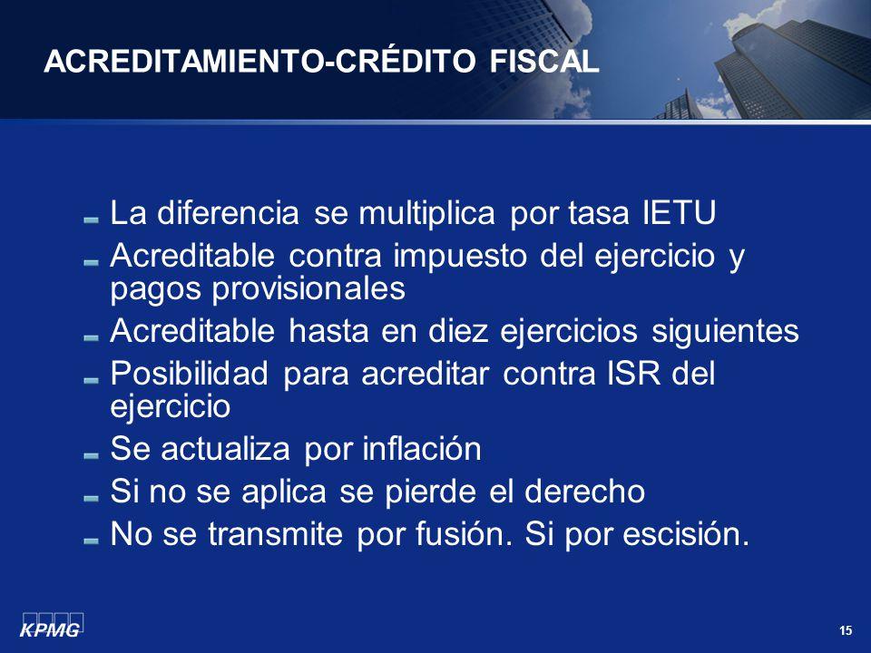 15 ACREDITAMIENTO-CRÉDITO FISCAL La diferencia se multiplica por tasa IETU Acreditable contra impuesto del ejercicio y pagos provisionales Acreditable