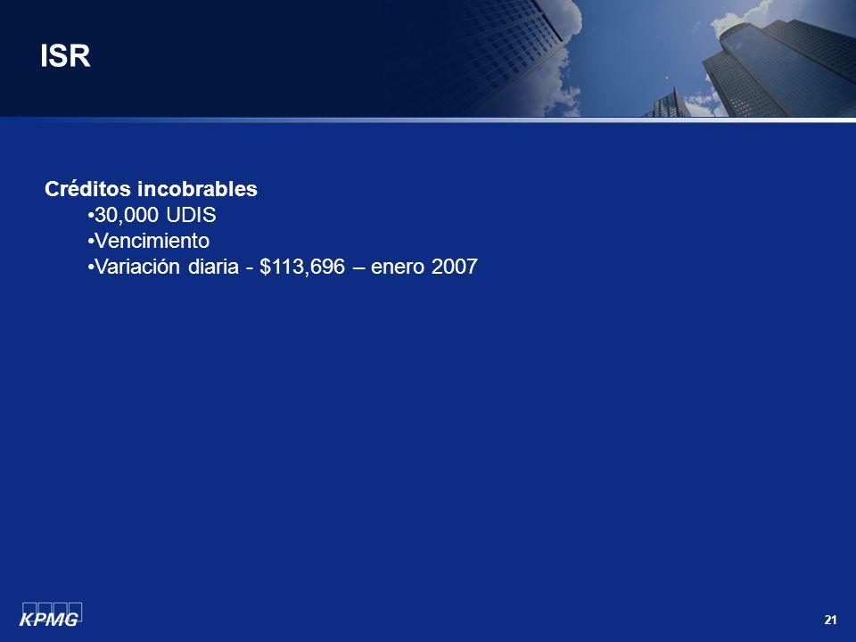 21 ISR Créditos incobrables 30,000 UDIS Vencimiento Variación diaria - $113,696 – enero 2007