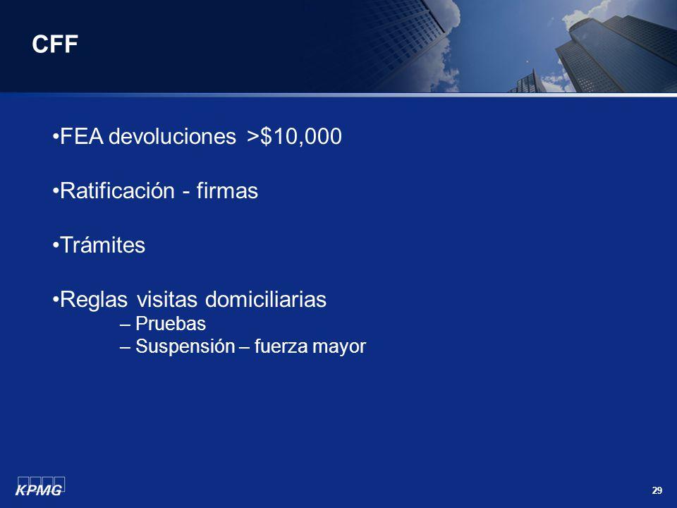 29 CFF FEA devoluciones >$10,000 Ratificación - firmas Trámites Reglas visitas domiciliarias – Pruebas – Suspensión – fuerza mayor