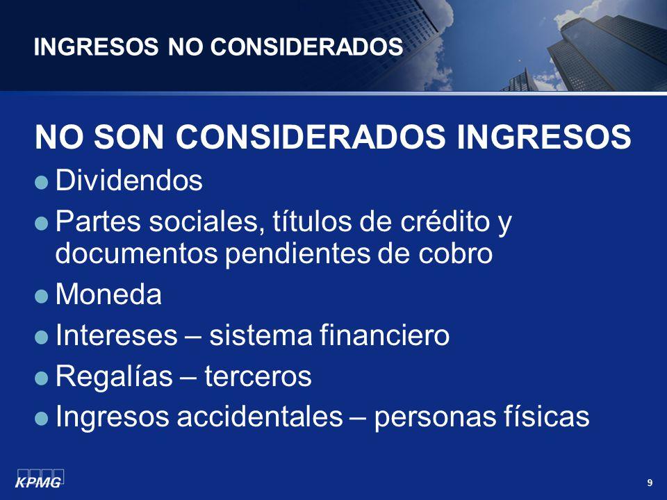 9 INGRESOS NO CONSIDERADOS NO SON CONSIDERADOS INGRESOS Dividendos Partes sociales, títulos de crédito y documentos pendientes de cobro Moneda Interes