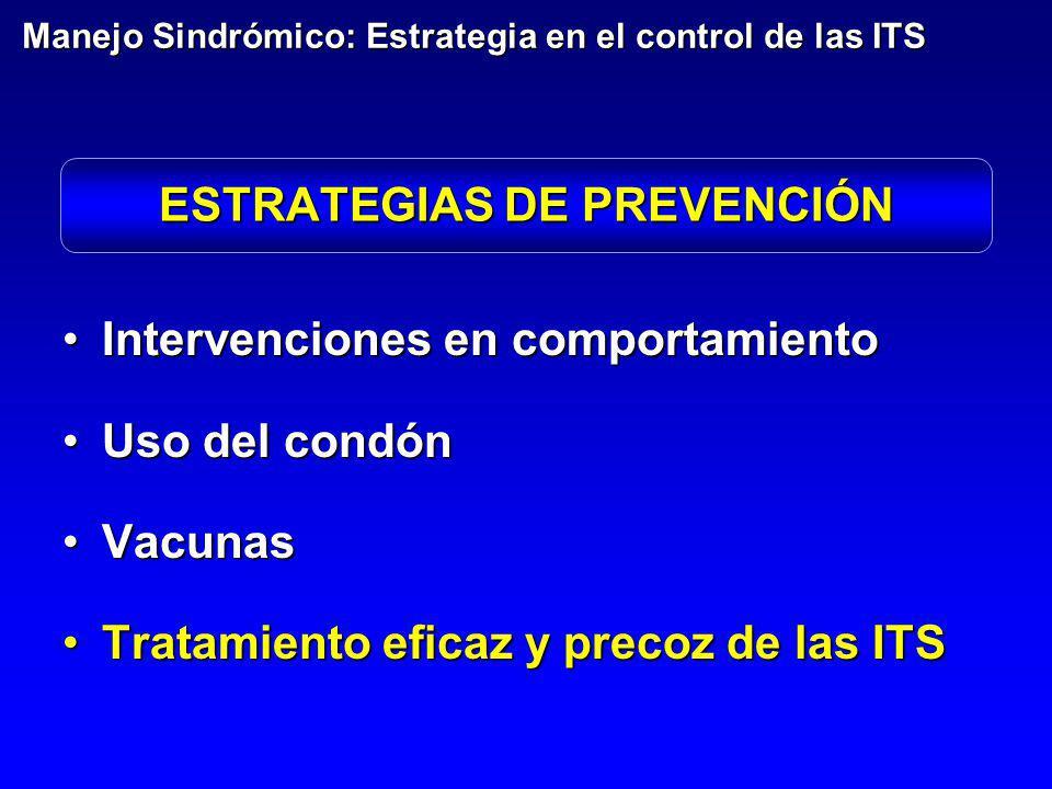 ESTRATEGIAS DE PREVENCIÓN Intervenciones en comportamientoIntervenciones en comportamiento Uso del condónUso del condón VacunasVacunas Tratamiento efi