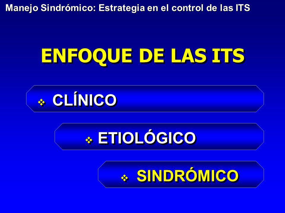 ENFOQUE DE LAS ITS CLÍNICO CLÍNICO ETIOLÓGICO ETIOLÓGICO SINDRÓMICO SINDRÓMICO CLÍNICO CLÍNICO ETIOLÓGICO ETIOLÓGICO SINDRÓMICO SINDRÓMICO Manejo Sind