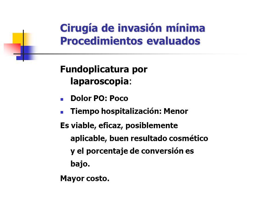 Cirugía de invasión mínima Procedimientos evaluados Fundoplicatura por laparoscopia: Dolor PO: Poco Tiempo hospitalización: Menor Es viable, eficaz, p