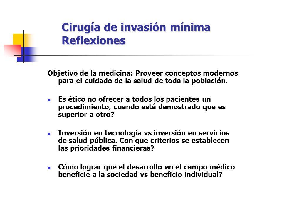 Cirugía de invasión mínima Reflexiones Objetivo de la medicina: Proveer conceptos modernos para el cuidado de la salud de toda la población. Es ético
