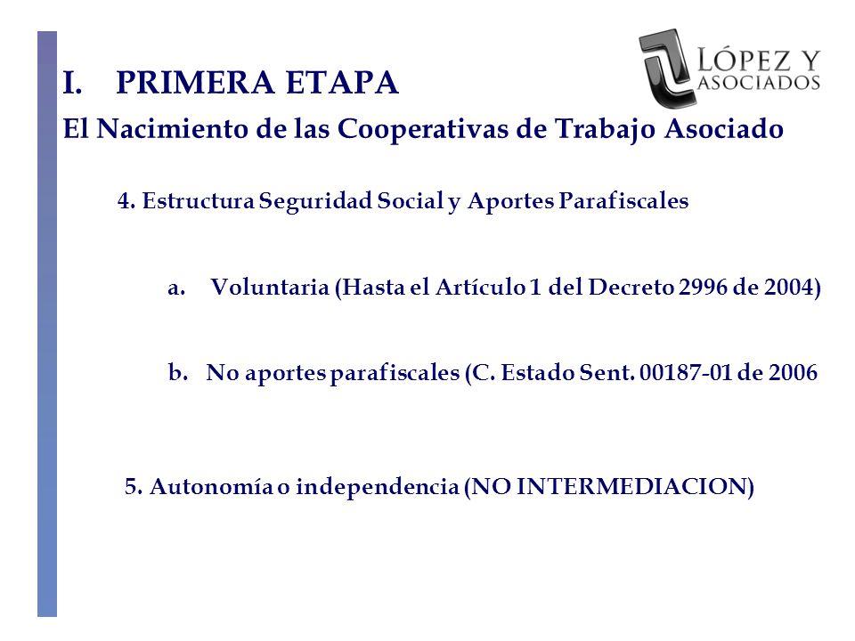 I.PRIMERA ETAPA El Nacimiento de las Cooperativas de Trabajo Asociado 4.
