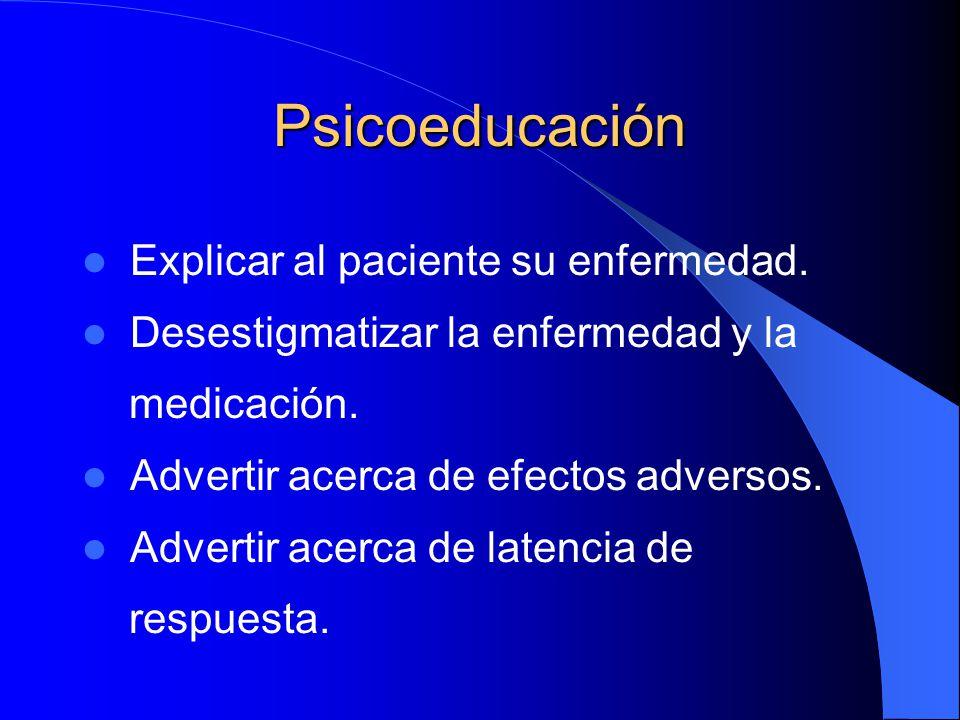 Psicoeducación Explicar al paciente su enfermedad. Desestigmatizar la enfermedad y la medicación. Advertir acerca de efectos adversos. Advertir acerca