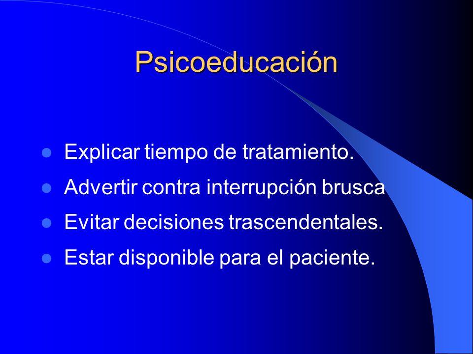 Psicoeducación Explicar tiempo de tratamiento. Advertir contra interrupción brusca Evitar decisiones trascendentales. Estar disponible para el pacient