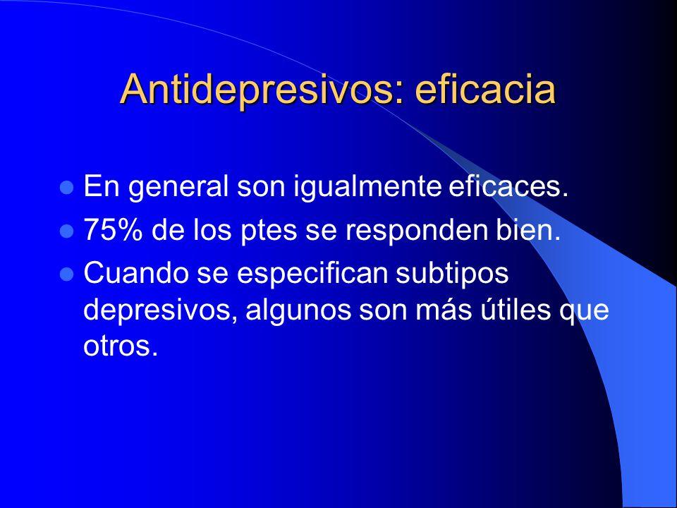Antidepresivos: eficacia En general son igualmente eficaces. 75% de los ptes se responden bien. Cuando se especifican subtipos depresivos, algunos son