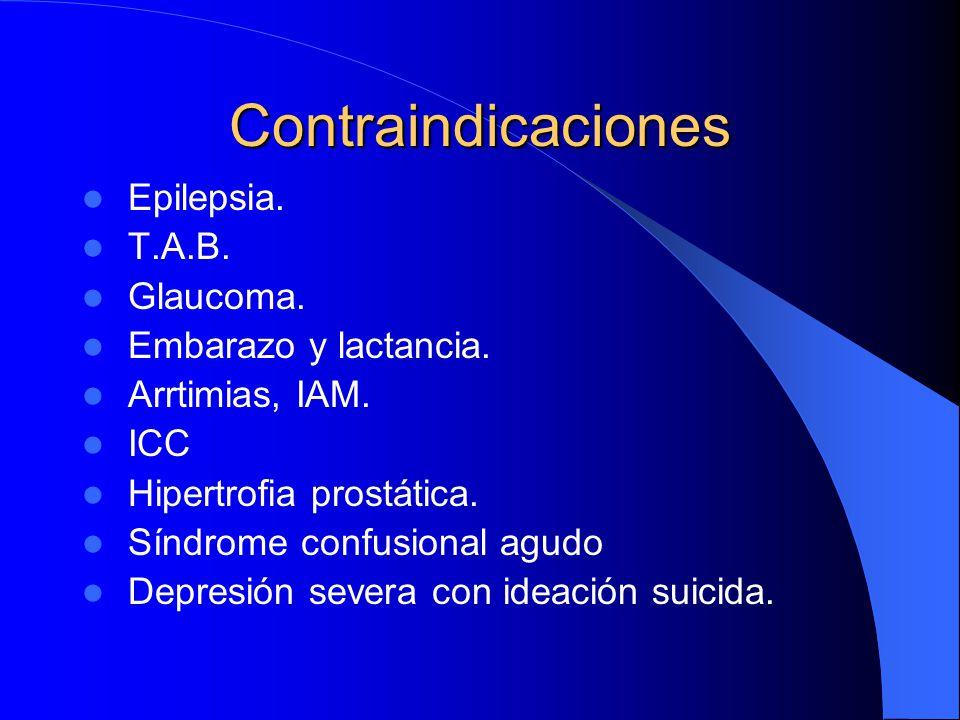 Contraindicaciones Epilepsia. T.A.B. Glaucoma. Embarazo y lactancia. Arrtimias, IAM. ICC Hipertrofia prostática. Síndrome confusional agudo Depresión