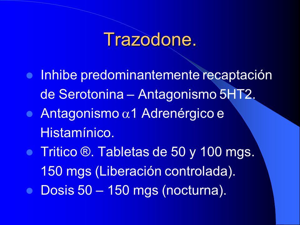 Trazodone. Inhibe predominantemente recaptación de Serotonina – Antagonismo 5HT2. Antagonismo 1 Adrenérgico e Histamínico. Tritico ®. Tabletas de 50 y