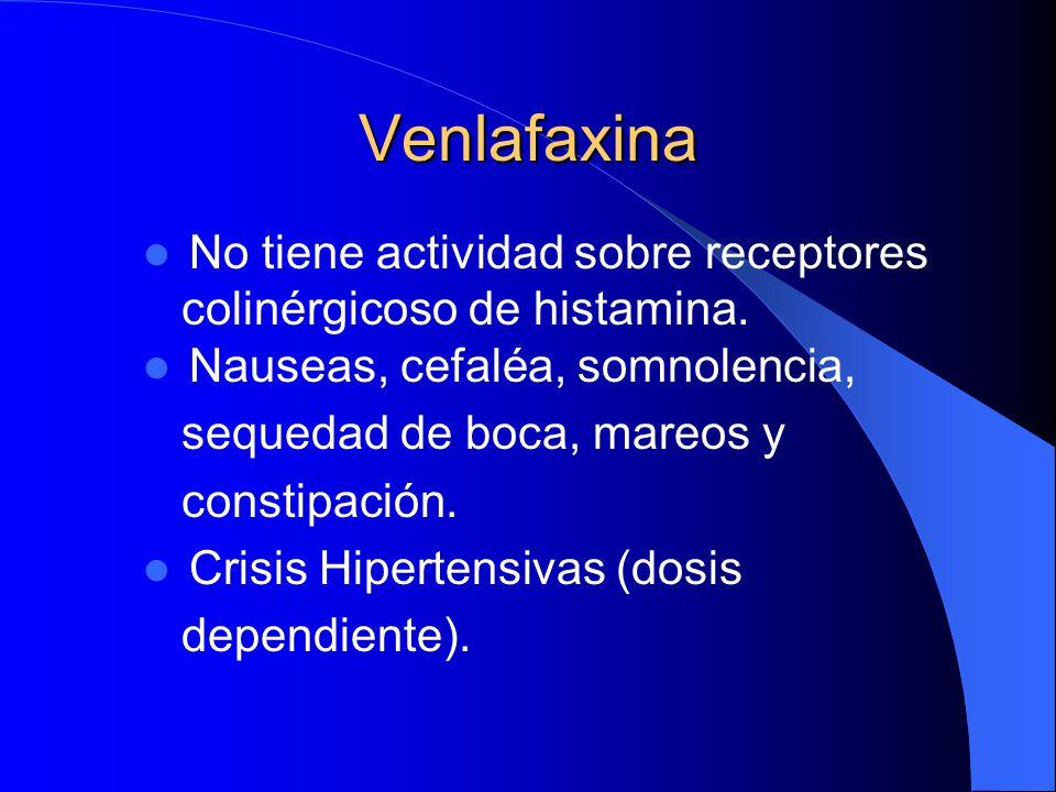 Venlafaxina No tiene actividad sobre receptores colinérgicoso de histamina. Nauseas, cefaléa, somnolencia, sequedad de boca, mareos y constipación. Cr