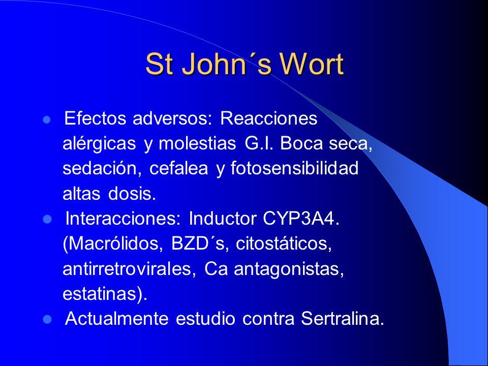 St John´s Wort Efectos adversos: Reacciones alérgicas y molestias G.I. Boca seca, sedación, cefalea y fotosensibilidad altas dosis. Interacciones: Ind