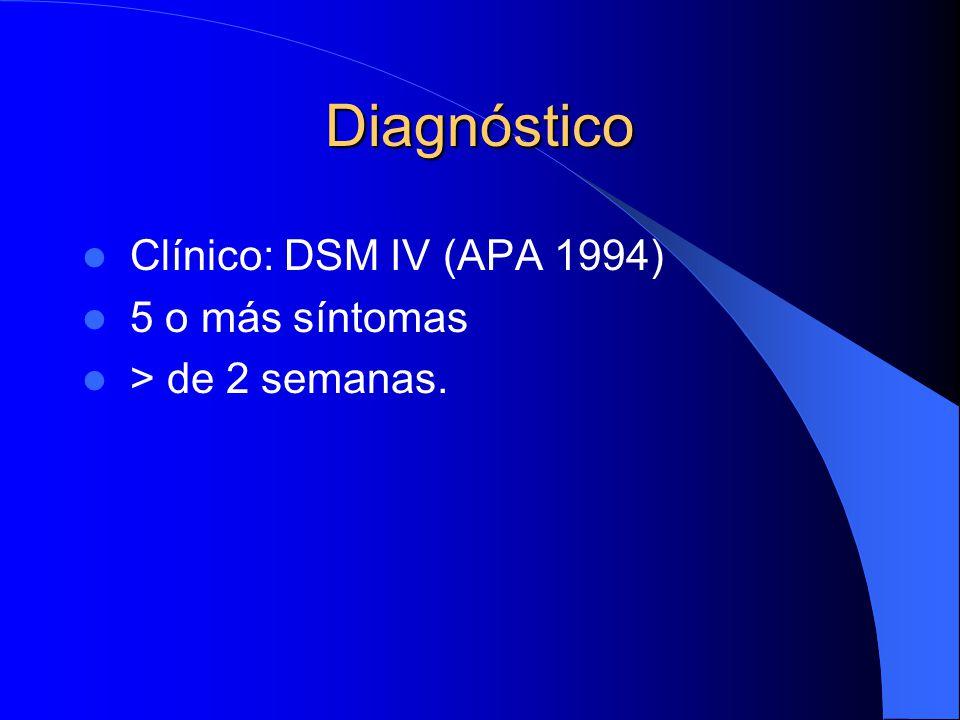 Diagnóstico Clínico: DSM IV (APA 1994) 5 o más síntomas > de 2 semanas.