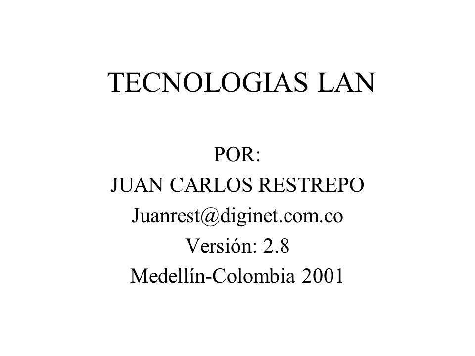 TECNOLOGIAS LAN POR: JUAN CARLOS RESTREPO Juanrest@diginet.com.co Versión: 2.8 Medellín-Colombia 2001