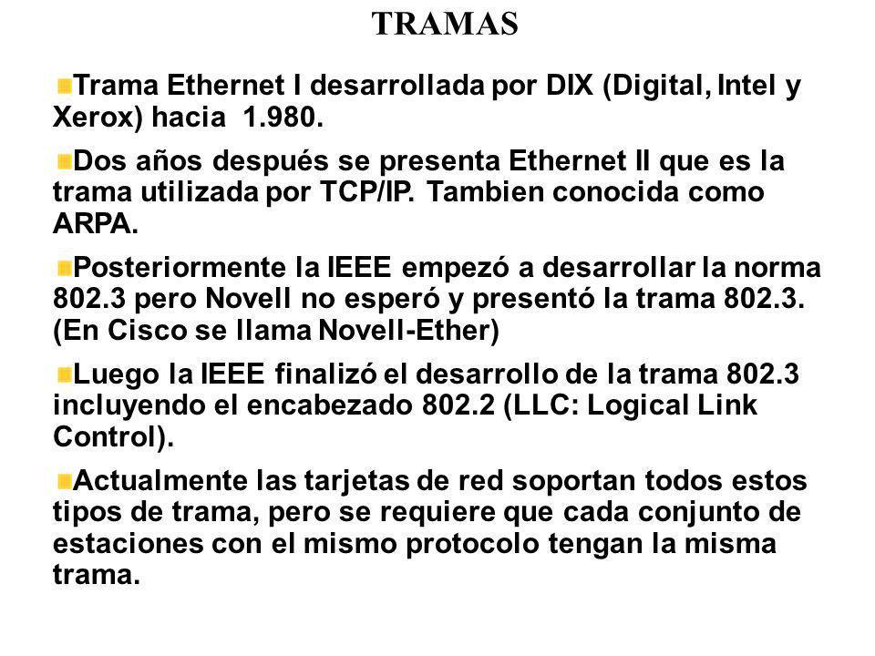 TRAMAS Trama Ethernet I desarrollada por DIX (Digital, Intel y Xerox) hacia 1.980. Dos años después se presenta Ethernet II que es la trama utilizada