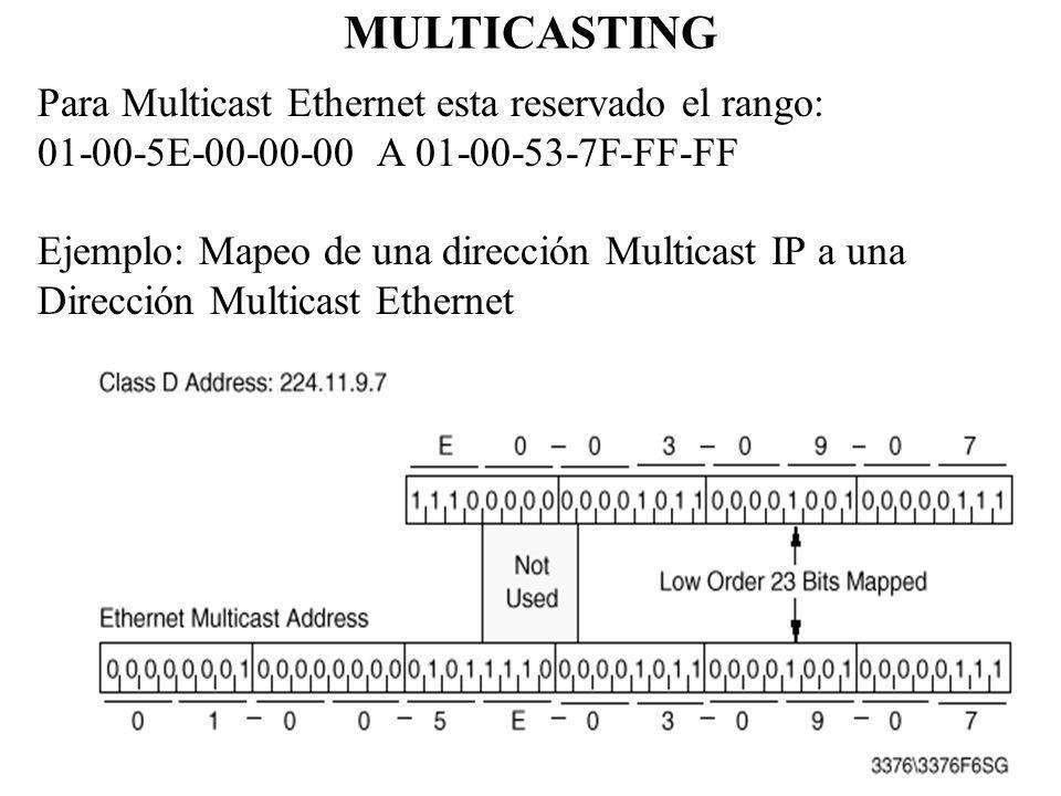 MULTICASTING Para Multicast Ethernet esta reservado el rango: 01-00-5E-00-00-00 A 01-00-53-7F-FF-FF Ejemplo: Mapeo de una dirección Multicast IP a una