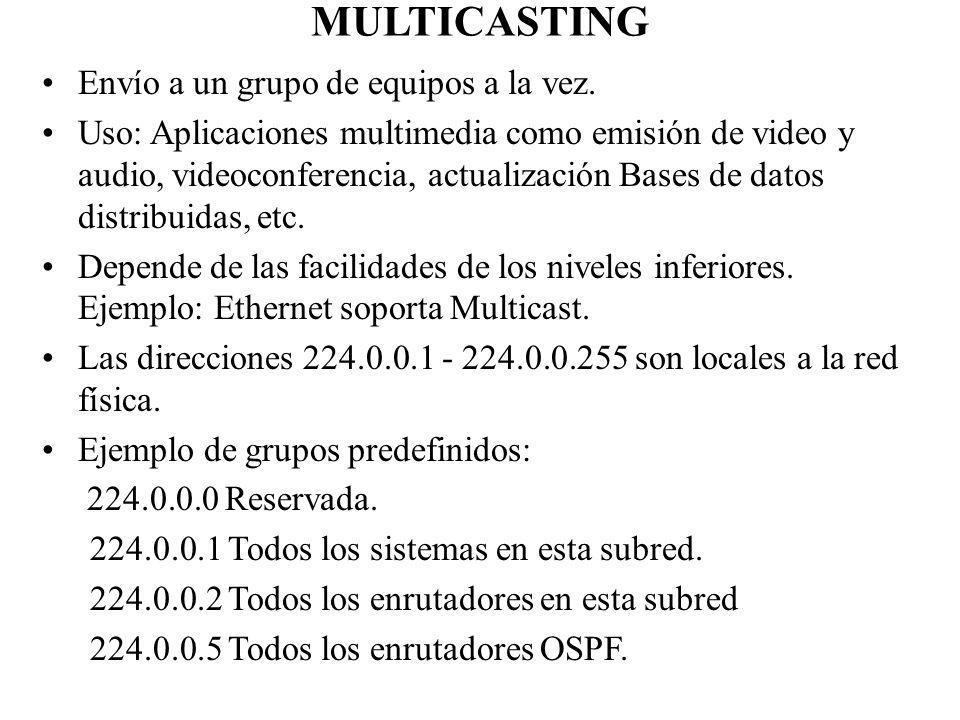 MULTICASTING Envío a un grupo de equipos a la vez. Uso: Aplicaciones multimedia como emisión de video y audio, videoconferencia, actualización Bases d