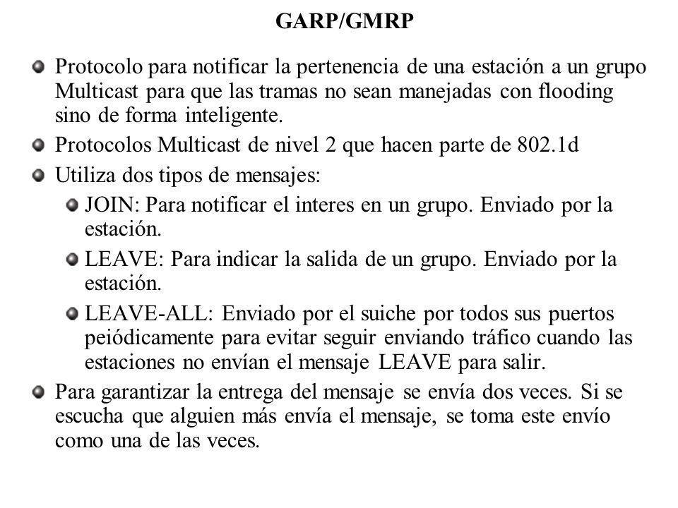 GARP/GMRP Protocolo para notificar la pertenencia de una estación a un grupo Multicast para que las tramas no sean manejadas con flooding sino de form