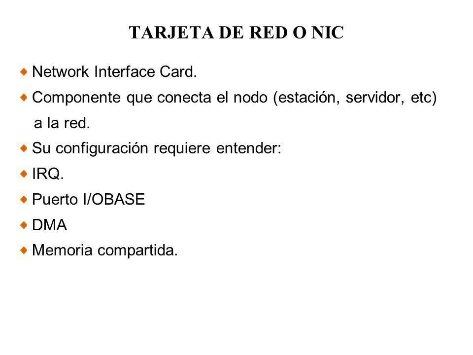 TARJETA DE RED O NIC Network Interface Card. Componente que conecta el nodo (estación, servidor, etc) a la red. Su configuración requiere entender: IR