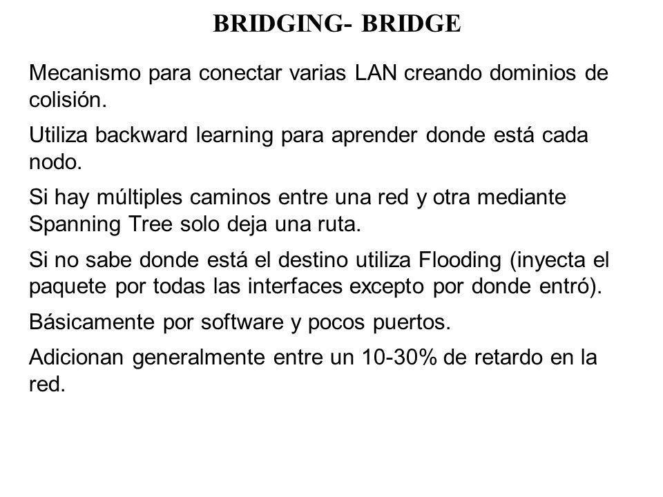 BRIDGING- BRIDGE Mecanismo para conectar varias LAN creando dominios de colisión. Utiliza backward learning para aprender donde está cada nodo. Si hay