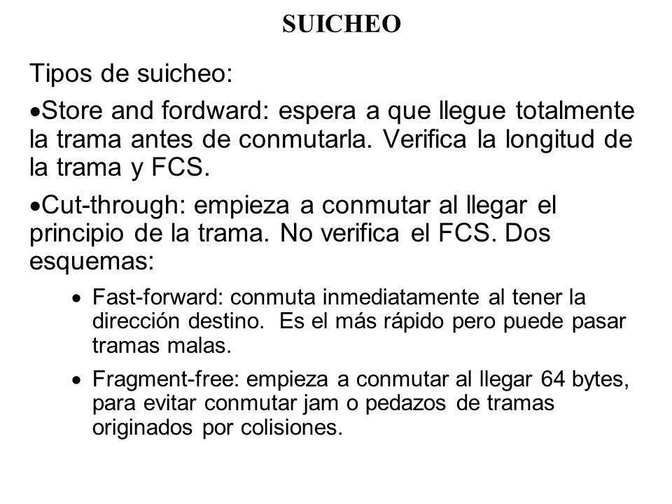 SUICHEO Tipos de suicheo: Store and fordward: espera a que llegue totalmente la trama antes de conmutarla. Verifica la longitud de la trama y FCS. Cut
