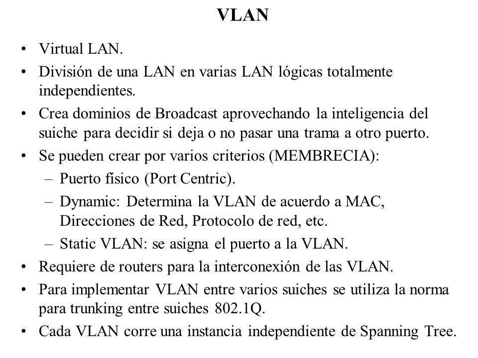 VLAN Virtual LAN. División de una LAN en varias LAN lógicas totalmente independientes. Crea dominios de Broadcast aprovechando la inteligencia del sui