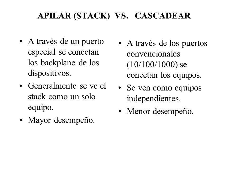 APILAR (STACK) VS. CASCADEAR A través de un puerto especial se conectan los backplane de los dispositivos. Generalmente se ve el stack como un solo eq