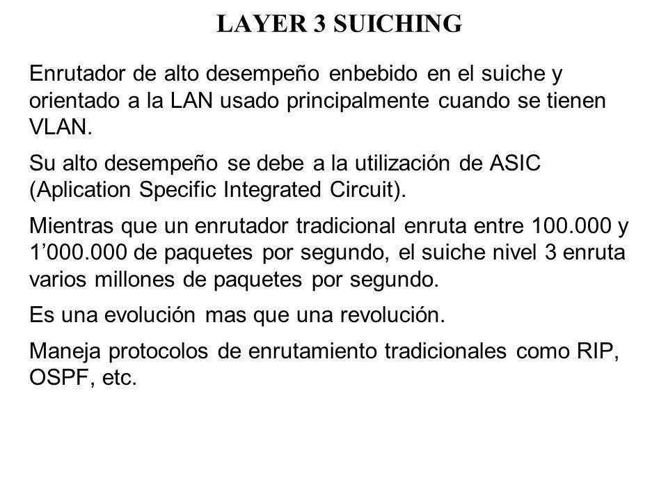 LAYER 3 SUICHING Enrutador de alto desempeño enbebido en el suiche y orientado a la LAN usado principalmente cuando se tienen VLAN. Su alto desempeño