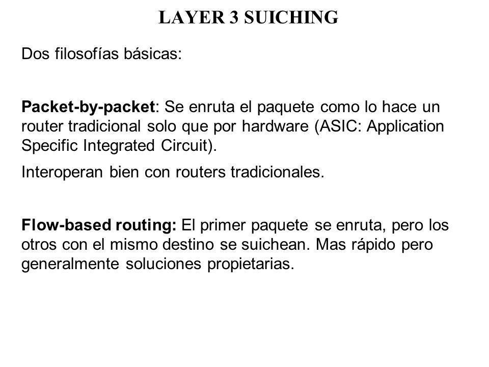 LAYER 3 SUICHING Dos filosofías básicas: Packet-by-packet: Se enruta el paquete como lo hace un router tradicional solo que por hardware (ASIC: Applic