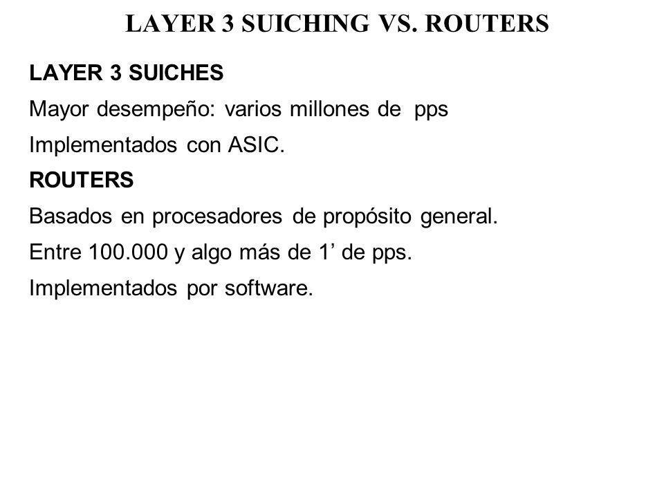 LAYER 3 SUICHING VS. ROUTERS LAYER 3 SUICHES Mayor desempeño: varios millones de pps Implementados con ASIC. ROUTERS Basados en procesadores de propós