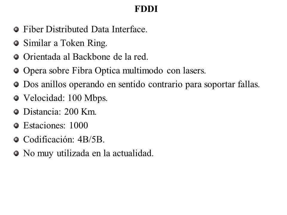 FDDI Fiber Distributed Data Interface. Similar a Token Ring. Orientada al Backbone de la red. Opera sobre Fibra Optica multimodo con lasers. Dos anill