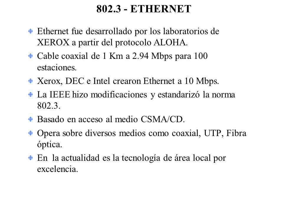 802.3 - ETHERNET Ethernet fue desarrollado por los laboratorios de XEROX a partir del protocolo ALOHA. Cable coaxial de 1 Km a 2.94 Mbps para 100 esta