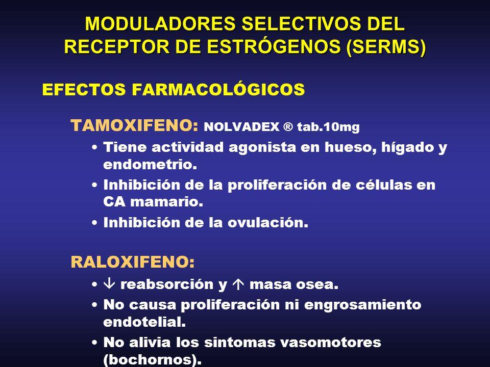 MODULADORES SELECTIVOS DEL RECEPTOR DE ESTRÓGENOS (SERMS) FARMACOCINÉTICA –Absorción VO alta.